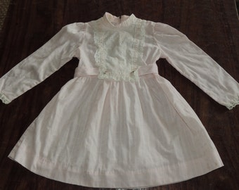 Vintage long Sleeve Pink Dress by Bow Age~Eyelet Lace~Flowers~High Collar~Sash~5/6