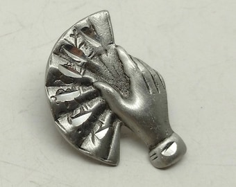 Vintage Hand Holding Fan Push Pin or Tie tac