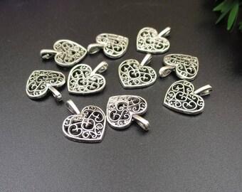 20PCS,15x18mm,Silver Heart Charm,Little Love Pendant,Pierced Heart Charm-p1035-B