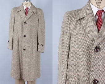 Vintage 1950s Men's Coat | 50s 60s Light Brown & Cream Tweed Overcoat with Orange Windowpane | Medium