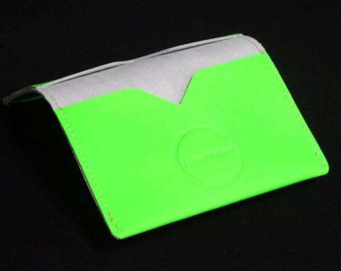 Bantam Wallet - Fluoro Green - Kangaroo leather with RFID Credit Card Blocking - James Watson