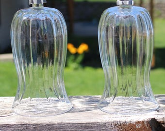 """Tall """"Astoria"""" Large Glass Votive Cups Lot Set 2 Pair Candle Holders for Sconces Ribbed with Grommets 6 1/2"""" Tall"""