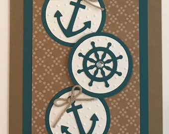 "Handmade ""You're My Anchor"" Card, Anchor, Ships Wheel"