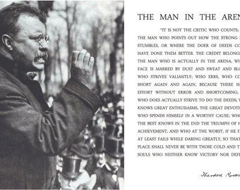 Man In The Arena Poster Theodore Teddy Roosevelt Quote 13x19 Teddy Giving Speech