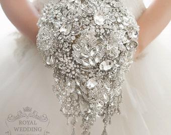 Bridal Bouquet, Brooch Bouquet, Wedding Bouquet, Bridesmaids Bouquet Crystal Wedding Band Cascading Bouquet Teardrop Bouquet Jewelry Bouquet