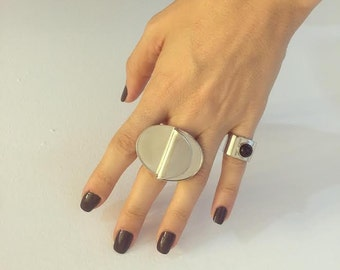 Onyx Square Ring  , Rhodium plated open square ring , Gift for her.