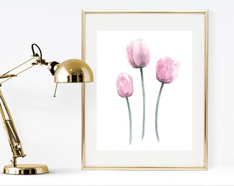 Watercolor pink flowers painting, watercolor tulips wall art, pink flowers wall art instant download, watercolor flowers print, shabby chic