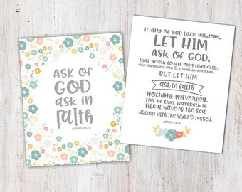 Ask of God Ask in Faith Young Womens 2017 theme prints / young womens ask of God printables / Floral Ask of God theme Prints