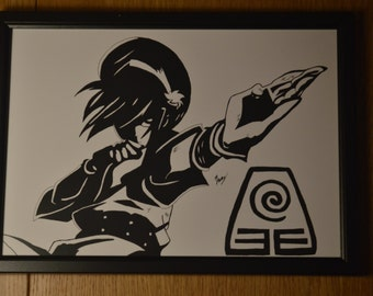 Toph Bei Fong from Aang The Last Airbender Black and White Print
