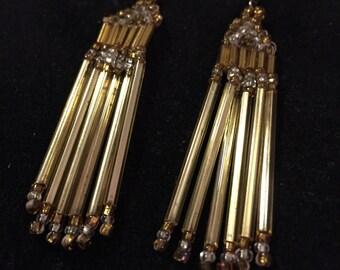 Vintage Boho Style Beaded Earrings Gold Bead Dangle Earrings