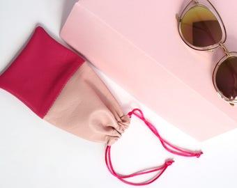 Pink Leather Sunglasses Case // Sunglasses Sleeve // Glasses Bag // Leather Glasses Pouch / Small Leather Bag / Sunglasses Holder