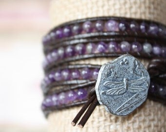 Dragonfly and Amethyst 4 Wrap Beaded Bracelet