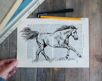 Dictionary art, Horse print, Rustic art, Horse poster, Nature print, Lodge decor, Farmhouse decor, Horse art, Man cave decor