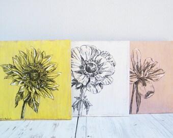 Set of 3 flowers prints, Botanical art, Rustic wall decor, Wood signs, Bedroom decor, Sunflower painting, Housewarming gift, Home decor