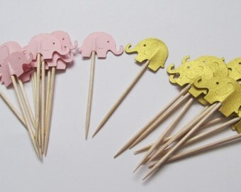 24 Blush pink and Gold Elephant Cupcake Toppers, Baby Elephant Foodpicks, Baby Girl Shower Cupcake Toppers, Elephant Baby Shower Toppers