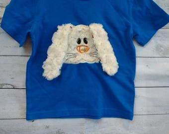 Fantastic Blue Bunny T Shirt - Age 3-4-  Vegan Clothing - Applique T shirt - Blue T Shirt - Organic  - Rabbit t shirt - Easter - Kidswear