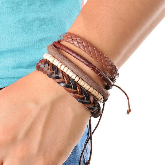 Mens Leather Bracelet Set