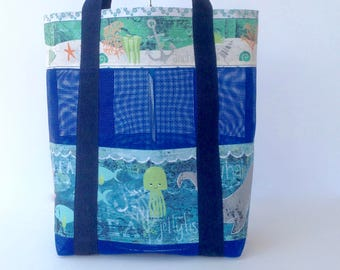 Mesh Beach Bag, Sea Life Beach Tote, Seashell Collecting Mesh Bag, Blue Kids Beach Bag, Sand Toy Mesh Tote, Sea Life Beach Bag,