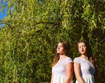 Daisy. Bridesmaids dress. Luna organic. Lace and chiffon.