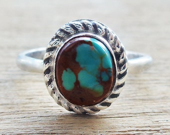 Chinese Turquoise Cabochon Sterling Silver Ring sz 7-1/2
