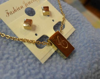 "Goldtone Initial ""C"" Necklace and Avon Cube Stud Earrings"