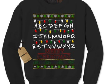 Crewneck Merry Christmas Strange Things Sweatshirt #8057 Unisex Long Sleeve Ugly Christmas Sweater Letters and Lights Gift for Him or Her