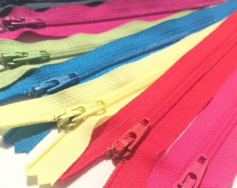 YKK Nylon Zippers 16 Inches Coil #3 Closed Bottom Assorted Colors