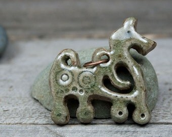 Ceramic Horse pendant inspired by Viking-era Finnish archaeology. Viking pendant. Viking jewelry. Viking necklace. Horse necklace. Handmade.