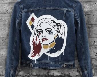 Harley Quinn Inspired Hand-Painted Blue Denim Jacket (Size: US 4, UK 8, EURO 36)