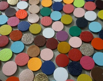 Leather Circles, 10 mm. (1 cm.), Mixed Color, Leather Circles Die Cut, Leather Circles Decoration, DIY Projects.