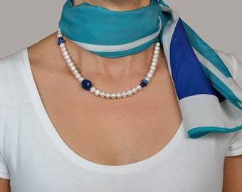 White pearl necklace, purity stone choker, lapis lazuli jewelry, navy white layer necklace, blue stone necklace, freshwater pearl necklace.