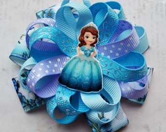 Sophia the first birthday Gift for girls Hair bows Sophia the first party Big hair bows Headband baby Boutique hair bows Princess hair bow