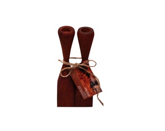 Hand Turned Padauk Candlestick Holders
