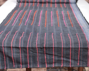 2YD Vintage Hmong textiles embroidered batik fabric cotton handmade table runner#59