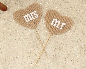 Burlap love hearts cake topper ,Mr mrs,Hessian decor,Jute cake topper,Party photo prop,Wedding party decor