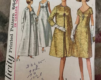 Vintage sewing pattern simplicity 6219 dress gown coat size 18 bust 38