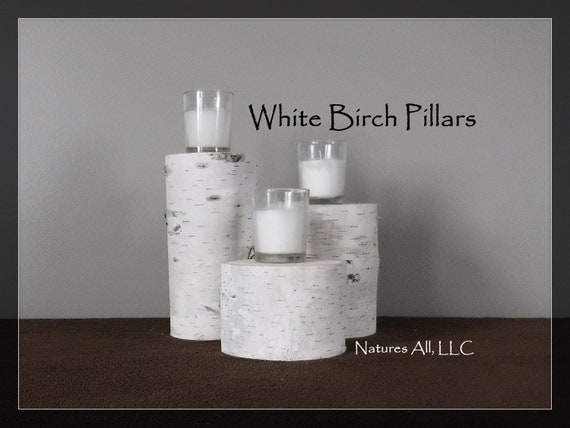 "White Birch Pillars/White Birch Risers/3 Piece Set/3.5""-5"" Diameters/3"", 5"" & 7"" Tall/White Birch Wedding And Home Decor /Item#:WBP-3573"