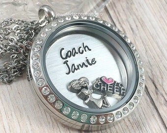 Cheer Coach Necklace, Floating Locket, Cheer Coach Gift, Hand Stamped Jewelry, Cheer Coach Locket, Personalized Cheer Coach, End Of Season