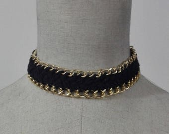 Braided choker edaged with gold chain #NK17008