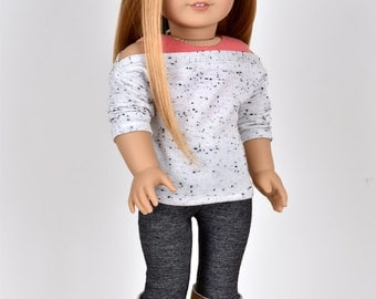 """Sweater """"Relaxed""""  Grey Spots 18 inch doll clothes"""