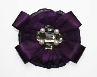 Purple Chiffon Brooch, Purple Fascinator, Purple Chiffon Ribbon Pearl and Diamante Brooch / Hair Clip, Purple Wedding Accessory