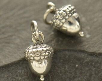 Sterling Silver, Acorn Charm, Acorn Necklace, Acorn Jewelry, Acorn Pendant, Acorn Locket, Silver Charms, Silver Acorn, Silver Jewelry