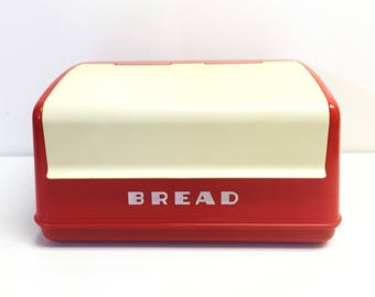 1950's Vintage Lustro Ware Red with White Bread Box Container Canister Mid Century
