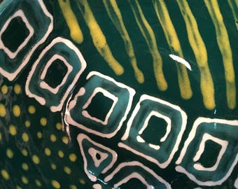 Bowl, green, turquiose, yellow, dinnerware, stoneware, wheel thrown, handmade, pottery, stripes, dots
