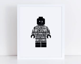 Lego Movie Printable | Everything is Awesome! | Printable | Instant Download | 5x7, 8x10, 11x14