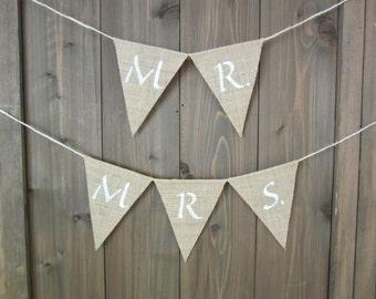 Mr. and Mrs. burlap banner - burlap pennant - burlap bunting