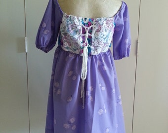 S/M Purple Off the Shoulder Vintage Inspired Upcycled Lace Up Back Dress