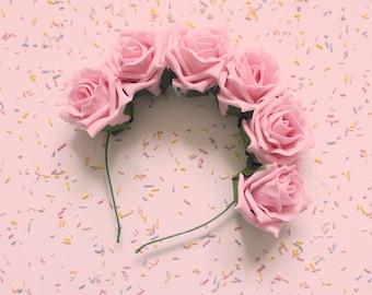 SALE | LAST ONE | Strawberry Cupcake Flower Crown | Pastel Pink Floral Rose Headband