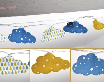 Garland light clouds, blue, white and yellow - reasons drops and Star