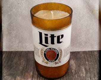 Miller Lite Beer Bottle Candle, YOU Pick Scent! Hand cut, Hand Polished, Maine made